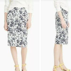 J. Crew The Pencil Skirt Butterfly Blue Ivory 2